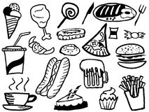 Doodle junk food background Stock Photos