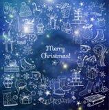 Doodle kartka bożonarodzeniowa Zdjęcie Royalty Free