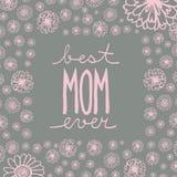 Doodle kartka z pozdrowieniami matkować ` s dzień z ręcznie pisany teksta Best ilustracji