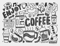 Doodle kawa Obrazy Royalty Free