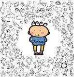 Doodle kid on the doodle background Stock Images