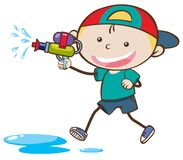 Doodle Kid Playing Water Gun royalty free illustration