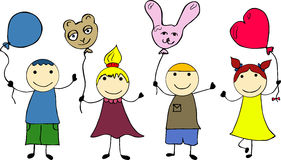 Doodle kids with balloon Royalty Free Stock Image