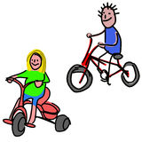 Doodle:kids on bicycle Stock Image