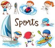 Doodle Kids Doing Sport Activities stock illustration