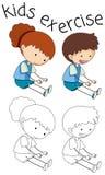 Doodle kids exercise on white background royalty free illustration