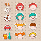 Doodle kids faces icons Royalty Free Stock Photos