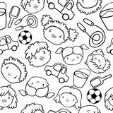 Doodle kids faces pattern Stock Photography