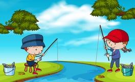 Free Doodle Kids Fishing At River Royalty Free Stock Photos - 117493858