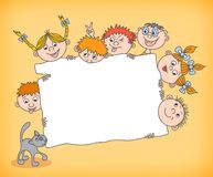Doodle kids holding blank sign Stock Photo