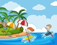 Doodle Kids on Holiday with Stand Up Paddle Board. Illustration stock illustration