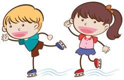 Doodle Kids Ice Skating on White Background. Illustration Stock Photos