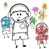 Doodle kids with jigsaw puzzle Stock Image