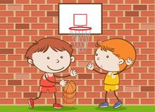 Doodle Kids Playing Basketball at School. Illustration vector illustration