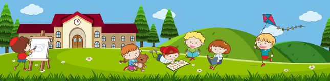 Doodle Kids Playing in front of School. Illustration Royalty Free Stock Photography