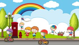Doodle Kids Playing at Playground. Illustration Royalty Free Stock Photography