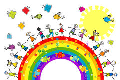 Doodle kids playing on a rainbow Stock Photos