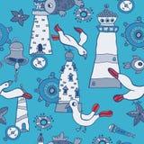 Doodle kids sea animals seamless vector pattern royalty free illustration