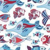 Doodle kids sea animals seamless vector pattern Stock Photos