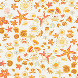 Doodle kids sea animals seamless vector pattern Royalty Free Stock Photo