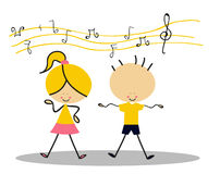 Doodle Kids Singing - Full Color Stock Photo