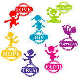 Doodle kids with stamps with positive words Stock Photography