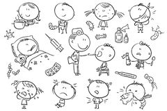 Kids Feeling Unwell, black and white outline Royalty Free Stock Photos