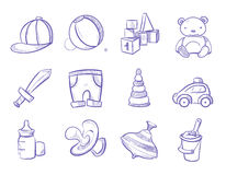 Doodle kids toys vector hand drawing set Royalty Free Stock Photos