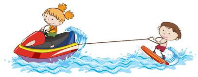 Doodle Kids Wakeboarding at the Ocean. Illustration Royalty Free Stock Photos
