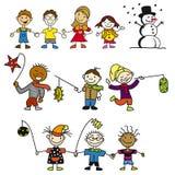 Doodle Kindergarten Kids, Mother and Snowman Stock Image