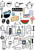 Doodle kitchen and food Royalty Free Stock Images