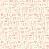 Doodle kitchen seamless pastel color background Stock Photos