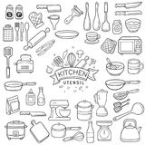 Doodle kitchen utensil sketch. Set of doodle kitchen utensil outline in black isolated over white background stock illustration