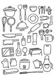 Doodle Kitchenware set, vector Royalty Free Stock Image