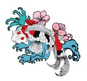 Koi fish with flower and Japanese cloud tattoo design vector Stock Photos