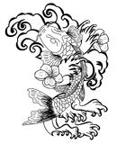 Koi fish with flower and Japanese cloud tattoo design vector. Doodle Koi fish vector on white background.Drawing koi fish for tattoo Stock Image