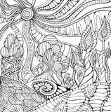 Doodle kolorystyki surrealistyczna krajobrazowa strona dla dorosłych Fantastyczny psy royalty ilustracja