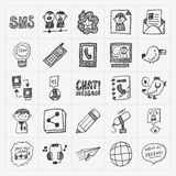 Doodle komunikacyjne ikony ustawiać ilustracja wektor