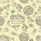 Doodle konturu bezszwowy wzór Jesieni żniwo Obraz Stock