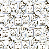 Doodle kotów bezszwowy wzór Ręka rysująca kreskówka Fotografia Stock