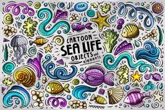 Doodle kreskówka ustawiająca Dennego życia symbole i przedmioty Fotografia Stock