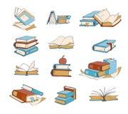 Doodle książki, ręka rysująca powieść, encyklopedia, opowieść, słownika wektoru ikony royalty ilustracja