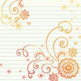 doodle kwiatów wykresu notatnika papier Zdjęcia Royalty Free