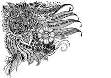 Doodle kwiatów wzoru czerń na bielu Zdjęcie Royalty Free