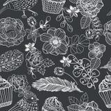 Doodle kwiatu bezszwowego wzór z tortem i ptakiem dla pięknego Zdjęcie Royalty Free
