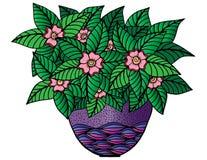 Doodle kwiaty i waza Kwiecisty wzór, ręka rysunek royalty ilustracja