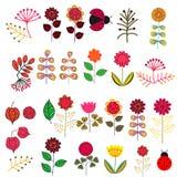 Doodle kwiaty ustawiający Obrazy Royalty Free
