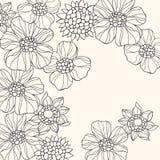 doodle kwiaty zarysowywający wektor Obrazy Royalty Free