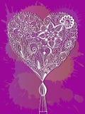Doodle kwiecisty serce Zdjęcie Stock