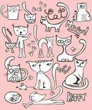 Doodle l'insieme del gatto Fotografie Stock Libere da Diritti